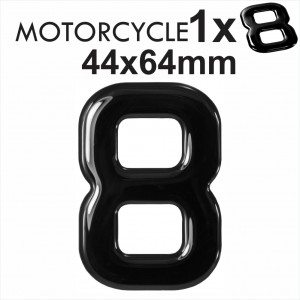 Number 8 3D Gel MOTORCYCLE MOTORBIKE BIKE digit number plates Black Domed Resin Making DIY Registration UK REG