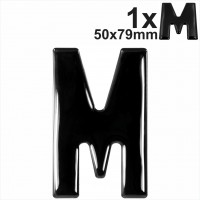 Letter M 3d gel number plates Black Domed Resin Making DIY Registration UK REG