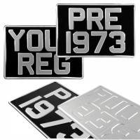 2x SQUARE 300x200 Black and Silver Classic Pressed Number Plates +10 STICKY PADS