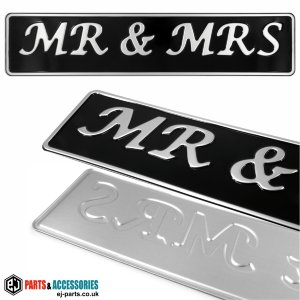 SINGLE OBLONG Mr & Mrs Personalised Wedding Car Pressed Number Plates Black/Silver
