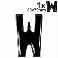 Letter W 3d gel number plates Black Domed Resin Making DIY Registration UK REG