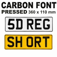 CARBON FONT 5 Digit Short 360x110 Pressed number plates metal ALU embossed car UK 100% Road Legal