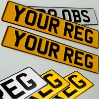 1x White 2x Yellow Pressed Number Plates 3D Metal Aliuminium Car Van MOT REG UK Road Legal 100%