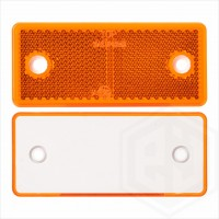 Amber Orange 96mm x 42mm Rectangular Screw On Car Trailer Caravan Side Reflector with Mounting Holes