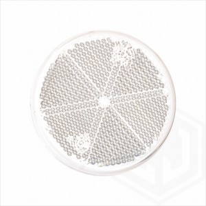 White Clear 60mm Round Stick On Self Adhesive Car Trailer Caravan Front Reflector