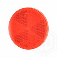 Red 60mm Round Stick On Self Adhesive Car Trailer Caravan Rear Reflector
