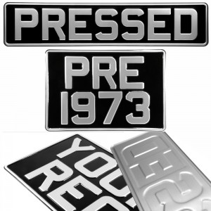 SET OF 2 Oblong square Black and Silver Pressed Number Plates Car Metal Classic Aluminium +10 STICKY