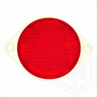 Red 85mm Round Screw On Car Trailer Caravan Rear Reflector with Mounting Holes