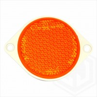 Amber Orange 85mm Round Screw On Car Trailer Caravan Side Reflector with Mounting Holes