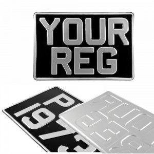 1 ONE SQUARE 300x200 Black and Silver Classic Pressed Number Plate +5 STICKY PADS