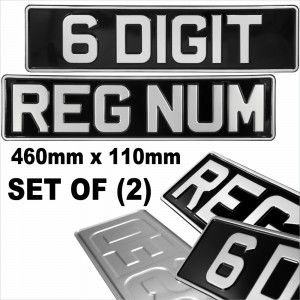 6 Digit Short 460x110 Black and Silver Classic Pressed number plates metal UK Road Legal +10 STICKY PADS