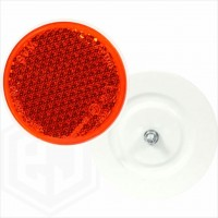 Amber Orange 85mm Round Car Trailer Caravan Side Reflector with Rear Bolt Attachment