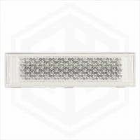 White Clear 126mm x 34mm Rectangular Stick On Self Adhesive Car Trailer Caravan Front Reflector