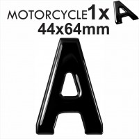 Letter A 3D Gel MOTORCYCLE MOTORBIKE BIKE number plates Black Domed Resin Making DIY Registration UK REG