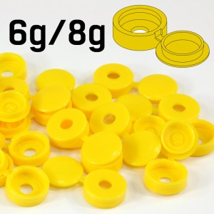 Yellow Hinged Plastic Screw Cover Caps (Small, 6/8g) 5 PACK SIZES