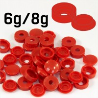 Red Hinged Plastic Screw Cover Caps (Small, 6/8g) 5 PACK SIZES