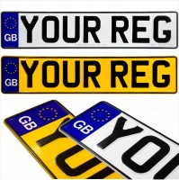 GB euro badge 2x Pressed number plates metal embossed Car Mot registration plates UK 100% Road Legal