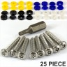25pcs. Number plate security screws Blue Yellow White Black CAPS HINGED FIXING Kit - 25pcs. Number plate security screws Blue Yellow White Black CAPS HINGED FIXING Kit
