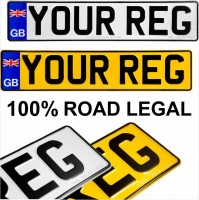 GB Union Jack badge 2x Pressed number plates metal embossed Car Mot registration plates UK 100% Road Legal
