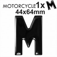 Letter M 3D Gel MOTORCYCLE MOTORBIKE BIKE number plates Black Domed Resin Making DIY Registration UK REG
