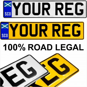 SCO Scottish Flag badge 2x Pressed number plates metal embossed Car Mot registration plates UK 100% Road Legal