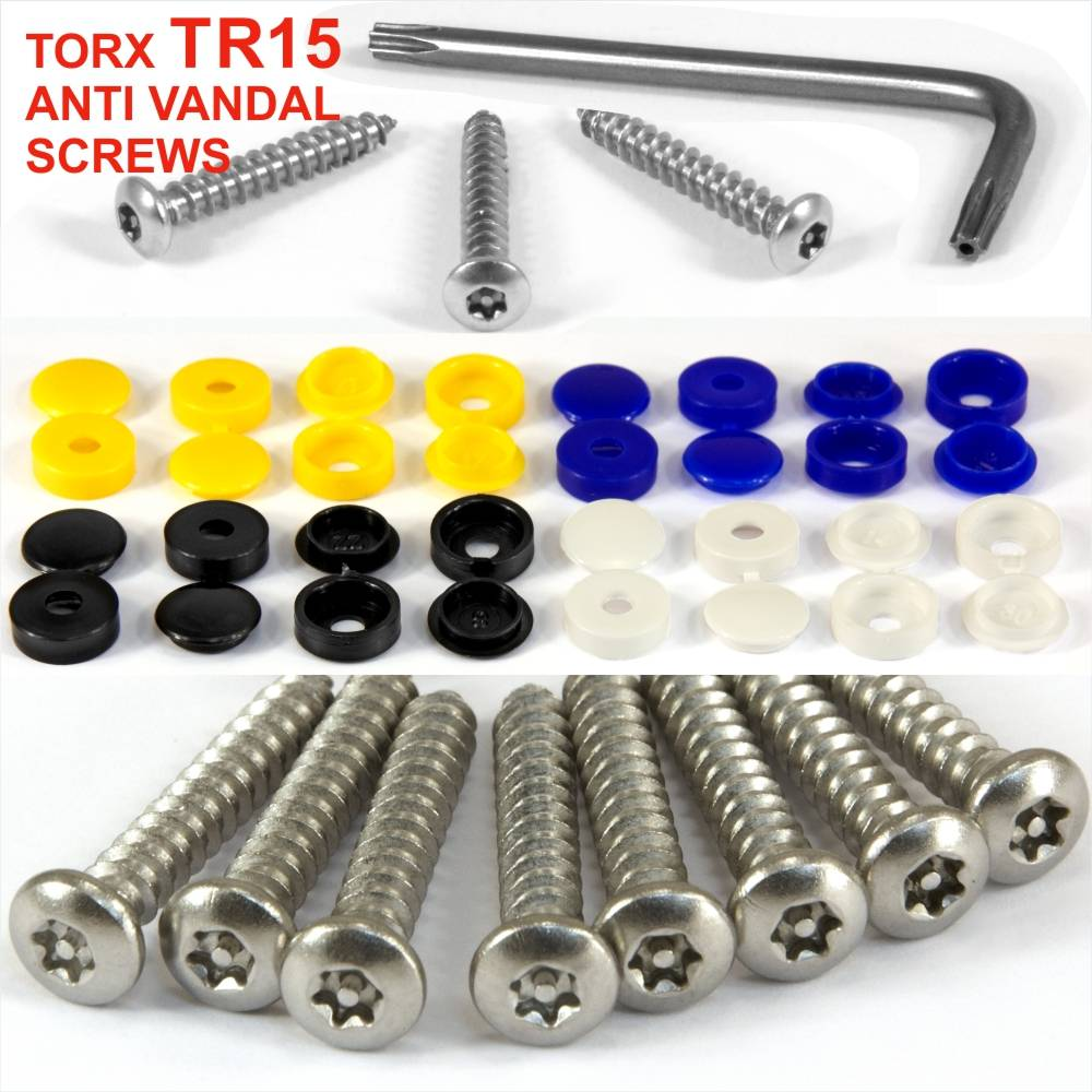 """1/"""" Long Number Plate Bolts /& Nuts Caps Screws Fixing Kit Black White Yellow Blue"""