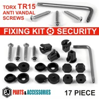 17 pcs NUMBER PLATE CAR FIXING SECURITY SCREWS AND CAPS HINGED PLASTIC COVER CAPS KIT