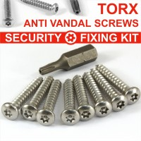 9 Piece Number plate security stainless steel screws KIT 8 SCREWS and TORX BIT