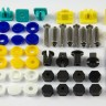 41x NUMBER PLATE CAR FIXING SECURITY SCREWS & Blue Yellow White CAPS HINGED Kit - 41x NUMBER PLATE CAR FIXING SECURITY SCREWS & Blue Yellow White CAPS HINGED Kit