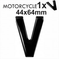 Letter V 3D Gel MOTORCYCLE MOTORBIKE BIKE number plates Black Domed Resin Making DIY Registration UK REG