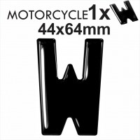 Letter W 3D Gel MOTORCYCLE MOTORBIKE BIKE number plates Black Domed Resin Making DIY Registration UK REG