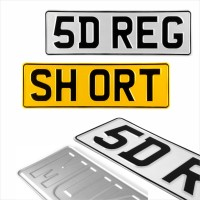 5 Digit Short 360x110 Pressed number plates metal ALU embossed car UK 100% Road Legal