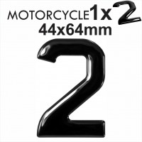 Number 2 3D Gel MOTORCYCLE MOTORBIKE BIKE digit number plates Black Domed Resin Making DIY Registration UK REG