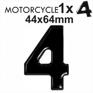 Number 4 3D Gel MOTORCYCLE MOTORBIKE BIKE digit number plates Black Domed Resin Making DIY Registration UK REG